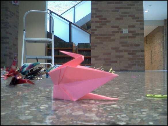 pink peace crane