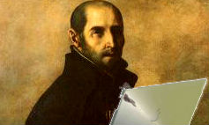 ignatius loyola with laptop